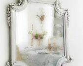 A N T I Q U E,  Fancy Octagon Shabby Chic Mirror French Country Nursery Vanity