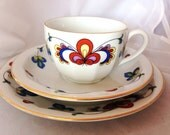 ON HOLD = Custom Order - 5 Porsgrund Cup & Saucer Sets and 3 tea plates