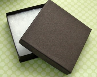 Cotton Filled Jewelry Boxes Matte Chocolate Brown High Quality 100% Recycled 3.5 x 3.5 x 7/8 inch - 10 Large
