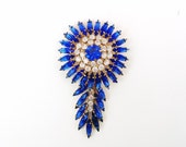 Vintage Sapphire Blue Brooch / Large Tribal Jewelry Pin / Feather Headdress Style / Blue Rhinestone Brooch