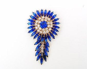 Vintage Sapphire Blue Brooch / Large Tribal Jewelry Pin / Feather Headdress Style / Blue Rhinestone Brooch
