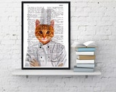 Winter Sale 10% off Chef cat Wall decor,Unique Gift Cat chef book print Cat kitchen decor wall hanging Poster Print art Pet animal BPAN061