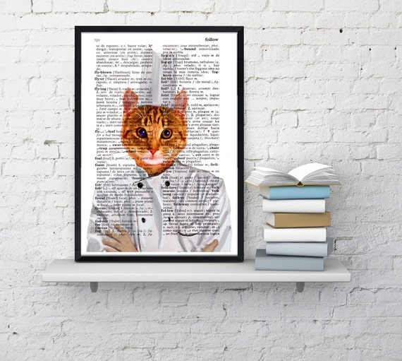 Christmas Sale Chef cat Wall decor,Unique Gift Cat chef book print Cat kitchen decor wall hanging Poster Print art Pet animal ANI061