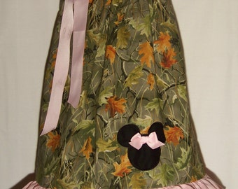Minnie Mouse Pillowcase Ruffle Dress / Realtree Camo / Pink / Disney / Newborn / Infant / Baby / Girl / Toddler / Custom Boutique Clothing