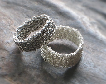 UNISEX WEDDING BAND Sterling Silver Crochet Wire—Free Shipping—Wedding, Engagement, Statement Ring—Custom Size [Bague Argent—Anillo Plata]