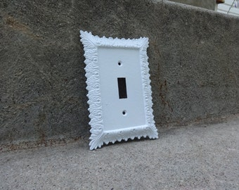 Vintage White Cast Iron Ornate Wall Outlet Cover Plate