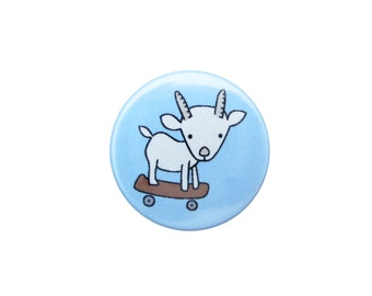 Skating Baby Goat Pin -  Goat Pin - Goat Magnet - Skateboarding Goat Pinback Button or Refrigerator Magnet
