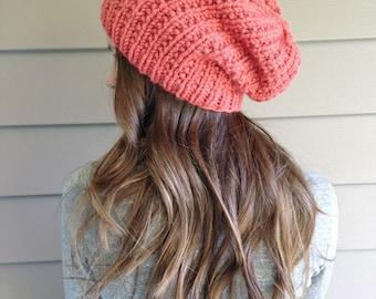 Chunky Knit Slouchy Beanie Tam Hat | Peach Strawberry | Wool Yarn