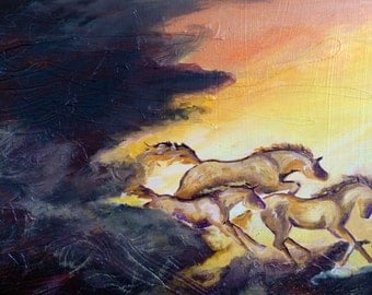 "Small Original Horse Painting, Original Acrylic on Panel ""Storm Chasers"""