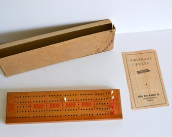 Vintage Game Cribbage Complete with Box. 2 player Wood Wooden Family Fun All Ages Collectible Home Decor 1950s Shelf Piece Display Card Game