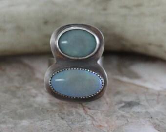 "Lightening Ridge Opal Ring - ""Blue Skies are Coming"""