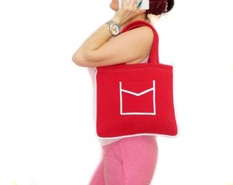 Tote Bag, Trendy tote bag, Red, Neoprene, Shoulder, Teenage bag, Tablet Bag, Red Bag, Pocket bag, Purse, Soft bag, Mini bag