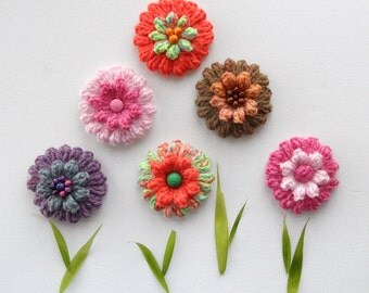 Crochet Applique -  Crochet Brooch - Popcorn Stich Multicolored Flowers  - Any Colour - Made to Order