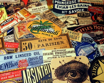 FREE SHIPPING! Vintage Label Sampler - Lucky Dip Sticker Grab Bag with 14 Vintage Style Labels, Mystery Surprise Sticker Pack, Ephemera Pack