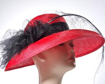 Kentucky Derby Hat, Wide Brim Red Straw Hat,Audrey Hepburn Hat
