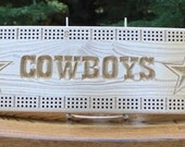 Dallas Cowboys cribbage board made from Black Ash wood.