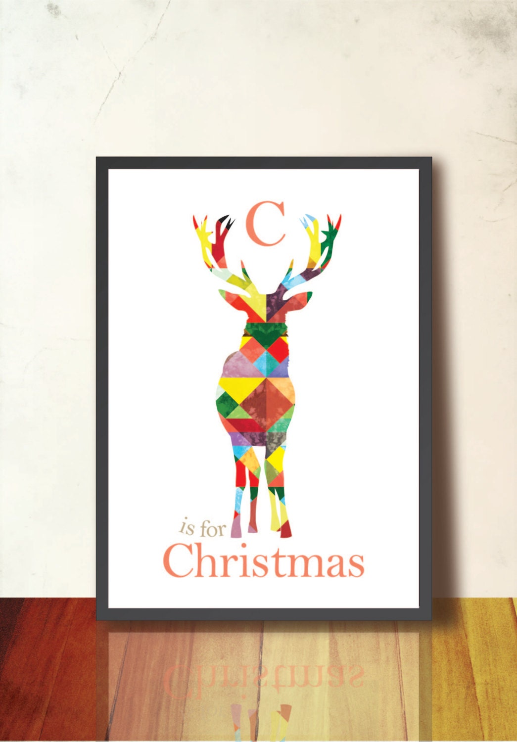 Reindeer Geometric Art Print Tangram Deer Antler Wall Decor.