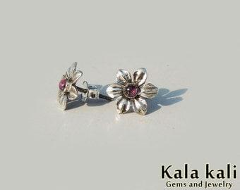 Red Tourmaline Flower Studs Sterling Silver Daisy Post Earrings 11 MM