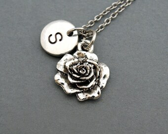 Rose necklace, Rose flower charm,  garden charm, antique silver, initial necklace, hand stamped, personalized, monogram