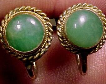 Jade Jadeite Silver Gilt Earrings 1930s Jadite Screw-back Earrings