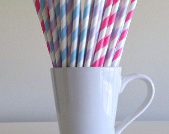 Pink, Purple, and Blue Striped Paper Straws Gender Reveal Party Supplies Party Decor Bar Cart Cake Pop Sticks Mason Jar Straws Graduation