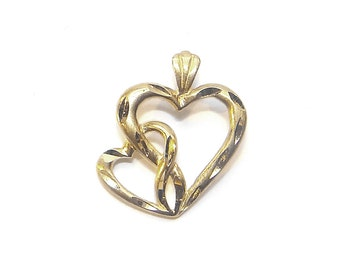 14K Intertwined Hearts Pendant - Vintage Double Hearts  - Yellow Gold Love Pendant - Two Heart Charm