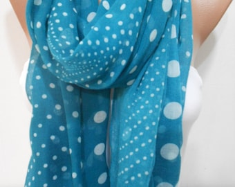 Soft Cotton Scarf Shawl Polka Dots Cowl Scarf Green Lightweight Scarf Women Fashion Accessories Christmas Gift Ideas For Her MiracleShine