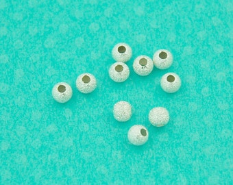 4mm sterling silver stardust ball spacer - 10 pcs or more - sparkle round silver stardust laser ball bead - .925 jewelry findings