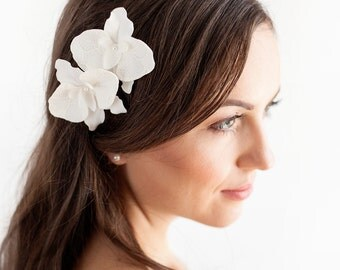 Orchid Hair Pins - Set of 2 Bridal Hair Flowers Orchid - Bridal Flower Hair Pins - Ivory - Bridal Hair Accessories