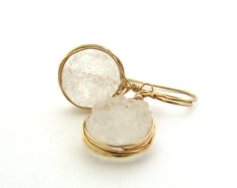 White druzy earrings, white jewelry, raw druzy earrings, rough druzy jewelry, bohemian jewelry, white dangle earrings, white drop earrings