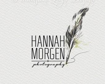 Logo Design Premade Photography Logo   Feather Logo  Watermark Design - Vintage logo Custom Business Premade Logo Design