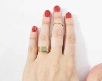 Square Gold Concrete Ring, Concrete Signet Ring, Gold Plated Signature Ring With Cement, Concrete Gold Ring, Cement Ring.