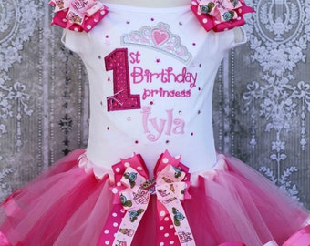 1st Princess Birthday Ribbon Tutu outfit with Bling and Bows