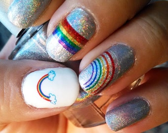 OMG RAINBOWS! - Water Slide Nail Decals