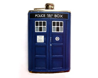 Custom Painted Doctor Who Leather Flask- Eleven and Twelve's TARDIS