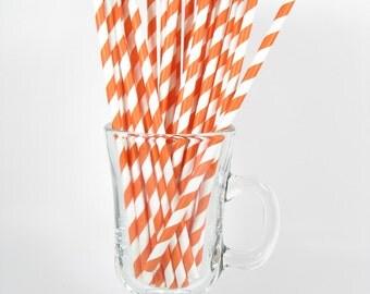 25 Orange Stripe Paper Straws | Orange Paper Straws | Orange Party Straws | Orange Drinking Straws | Stripe Paper Straws