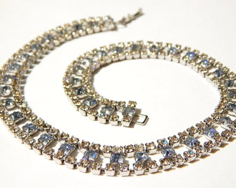 Vintage Choker Necklace - Cubic Zirconia And Sapphire Colored Stones - Vintage Bridal Necklace