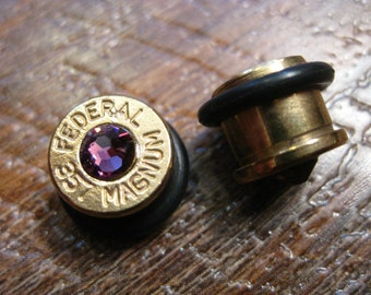 38 Special/357 Magnum 00 ear gauges Ammunition Ear Plugs (9.5 mm), upcycled Ammo with Swarovski Birthstone crystals