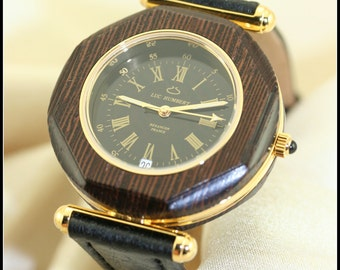 Mens black watch, Wooden watch men, Unique watch gold, Unique gifts for men, Gifts jewelry for men birthday, 5 year anniversary for him