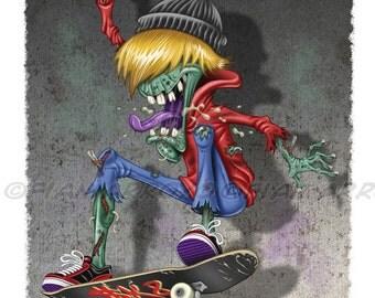 "Zombie Fine Art PRINT-SKATEBOARDING ZOMBIE-Extreme Sports Horror Illustration Series, Giclée Signed Titled, 8""x10"" by Fian Arroyo-unframed"