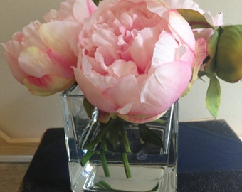 silk flower arrangement, faux flower arrangement in acrylic, peonies, flower arrangements, wedding flowers, gifts, square vase, mothers day