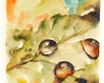 Watercolor Painting Art Print, Leaf with Water Drops, Watercolour Wall Art