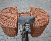 Wicker Bike Pannier. Bike Saddle Bag. Bike double basket. Totally handmade.