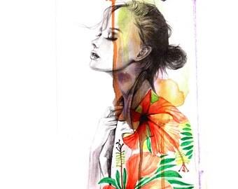 Watercolor Fashion illustration, Fashion art print, Wall art, feminine art, beautiful art, gift for girlfriend, gift for her, Titled- Moment