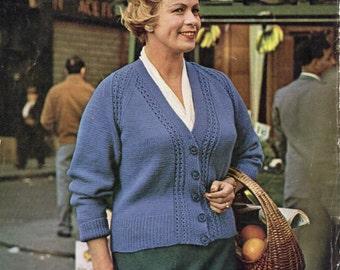 Ladies Raglan Cardigan Knitting Pattern : Womens bust 44 Etsy