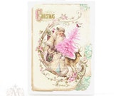 Vintage Santa Christmas card, pink Christmas, pink Christmas tree, deer, woodland, robin, Paris, reindeer, vintage style, holiday card