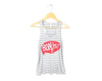 BONjour Tank - Scoop Neck Racerback Swing Tank Top in Heather Grey and White Stripe - Women's Size XS-2XL