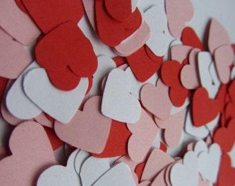 Wedding confetti hearts - Valentines day pink heart confetti - white paper confetti - red card stock confetti - confetti - weddings