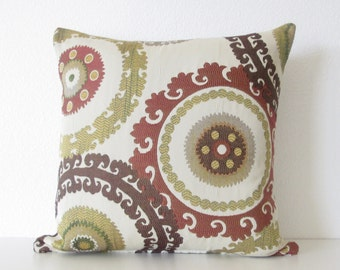 Taraz Tapestry Teak suzani medallion brown burgundy gold decorative pillow cover