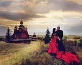 Red Wedding Dress with Black Accents Custom Made to your Measurements